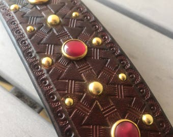 Western studded leather bracelet rockabilly