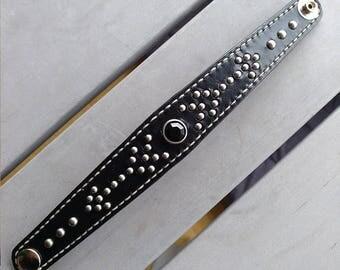 Leather western studded bracelet rockabilly