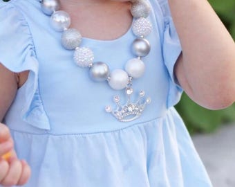 Princess Crown Necklace, White and Silver Chunky Bubblegum Necklace, Princess Party, Girl Toddler Princess Jewelry, 1st Birthday Necklace