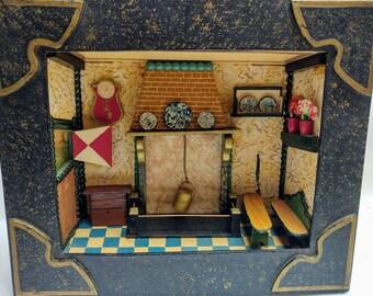 Vintage homemade diorama farm house kitchen