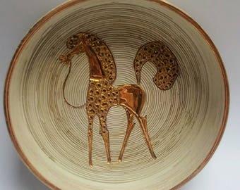 Fratelli Fanciullacci mid century gold horse bowl