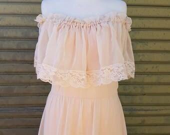 Peach Chiffon Boho Maxi Dress 1970's