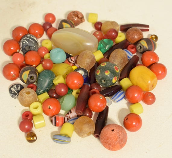 Beads Mixed Bag Cinnabar African Coral Amber Glass Assorted Beads 20mm