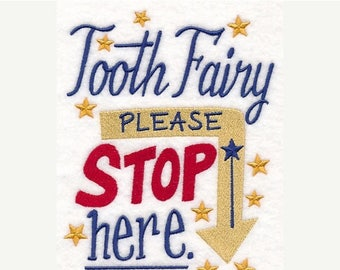 Tooth Fairy Please Stop Here Embroidered Terry Cloth Hand Towel