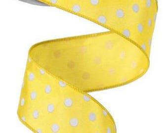 """1.5"""" Yellow polka dot ribbon, Yellow small polka dot ribbon, Yellow White Polka Dot Ribbon (10 Yards) - RG100029"""