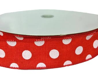 "1.5"" Red White Polka Dot Ribbon, Red White Polka Dot Canvas Ribbon"