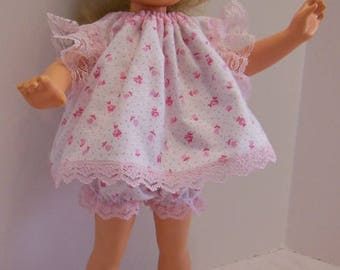 "White & Pink Pajamas for Tomy 17"" Kimberly Dolls"