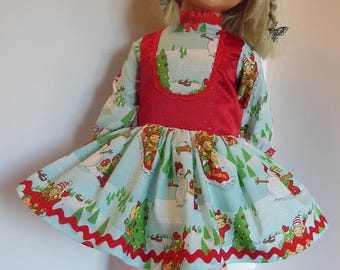 "Red Vested Holiday Print Dress Set for Ideal 30"" Betty Big Girl"