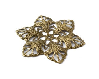 57 mm bronze filigree flower color print / ES005