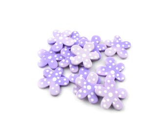 Wooden flowers dot embellishments / set of 12