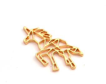 Gold color origami Unicorn charm