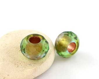2 large green and gold Czech glass beads PT0092