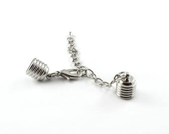 Tips for cord with silver clasp