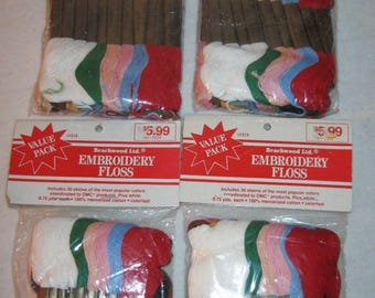 Vintage Embroidery Thread - Embroidery Floss - 4 packs / 120 Skeins - NOS