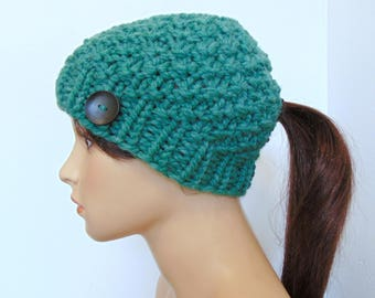 Chunky Knit Ponytail Hat Moss Stitch Green Heather Beanie with Pony Tail or Bun Hole Hand Made in Alaska Wool Blend