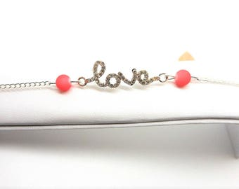 Silver infinity bracelet love writing, Pearl Pink charms and co.
