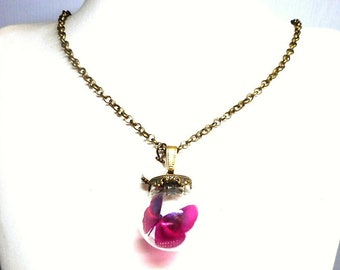 Necklace glass globe Butterfly Pink Pearl White