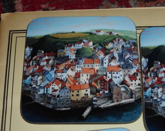Heat resistant coasters of Staithes Yorkshire Coast - from an original oil painting by Will Ellen