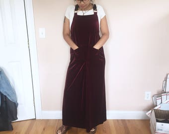 maxi velvet overall dress maroon burgundy // vintage // size large