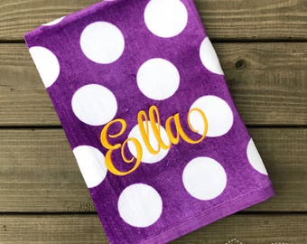 Beach Towel-Monogrammed Beach Towel-Girls Monogram Beach Towel-Pool Towel-Purple Polka Dot Towel-Personalized Beach Towel