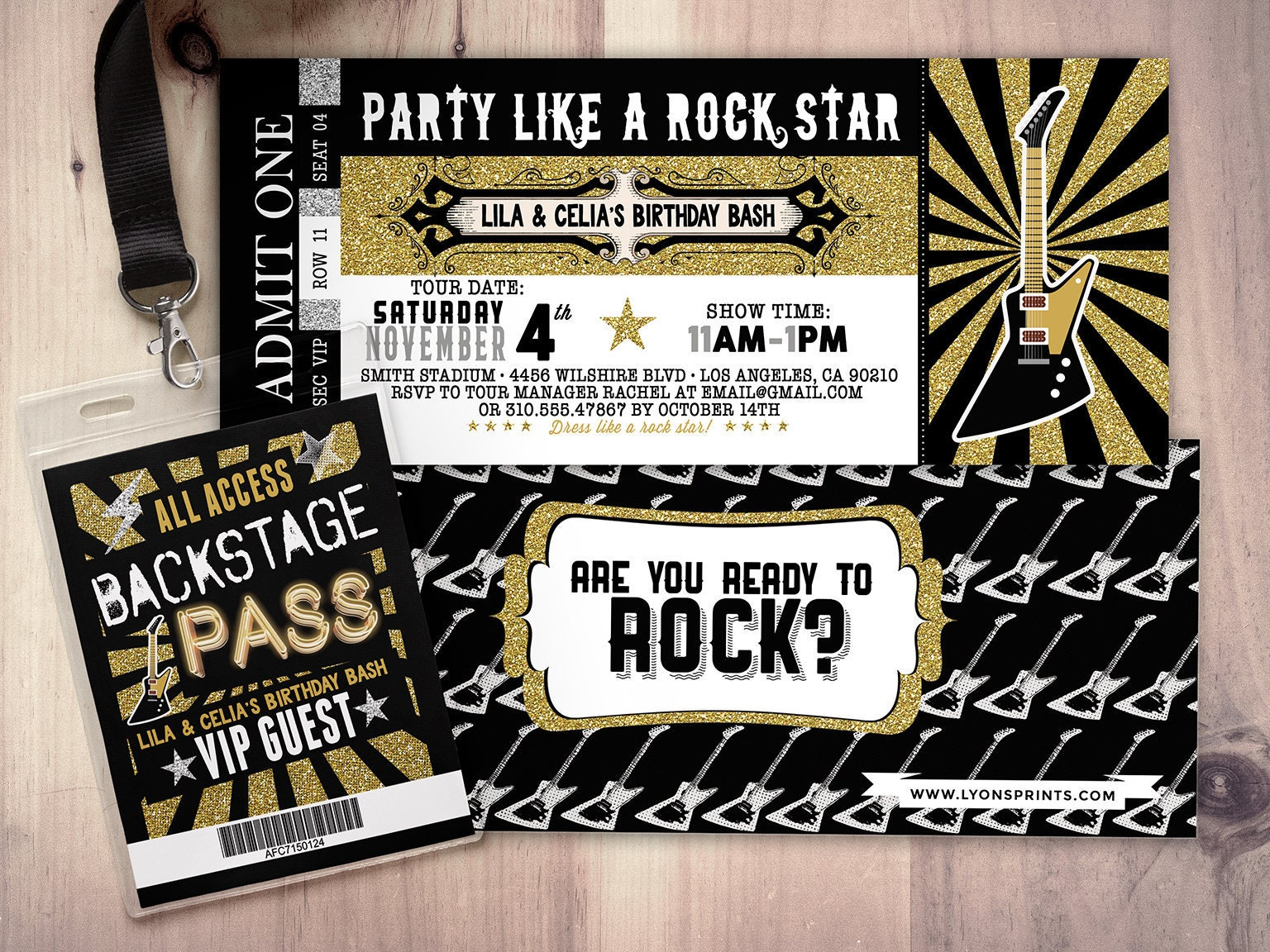 ROCK STAR concert ticket birthday party invitation- Music ...