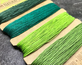 Green Hemp Cord, 0.55 mm 10lb test, BeadSmith Emerald Shades Natural Hemp, Assorted Greens Hemp String Card, Hemp Macrame Cord (HEM-26)