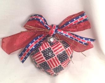 Patriotic Red White Blue Stars Stripes Flag Decoupage Fabric Glass Heart Ornament