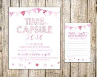VALENTINE TIME CAPSULE, First Birthday Time Capsule, Sign & Card, Valentine First Birthday Time Capsule, Baby Time Capsule, Birthday Wishes