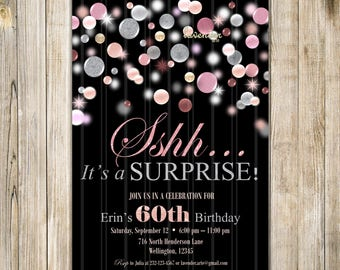 Pink and Silver Surprise 60th Birthday Invite, Shhh It's A Surprise Invitation, Woman 60th Birthday Party, Surprise Birthday, Surprise Party