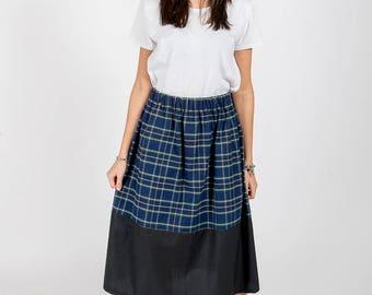 Skirt MoD. Sage/tartan blue and green