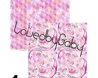 """LovedbyGaby scrapbook papers """"Mermaids pink"""""""