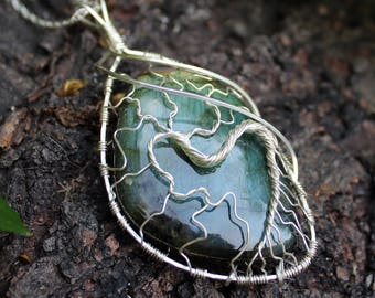 Tree of Life Sterling Silver Wire Wrapped Labradorite Pendant Necklace - Teal / Yellow Flash - Spiritual - Elegant / Fantasy