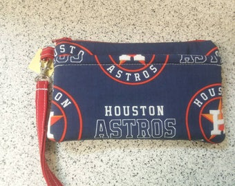 Handmade Huston Astros Design Print Wallet Wristlet Phone Case with strap