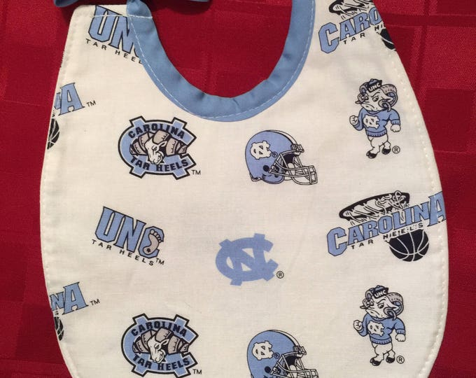 Baby Bib University of North Carolina Tar Heels Inspired Fabric, Available in 2 Sizes!!