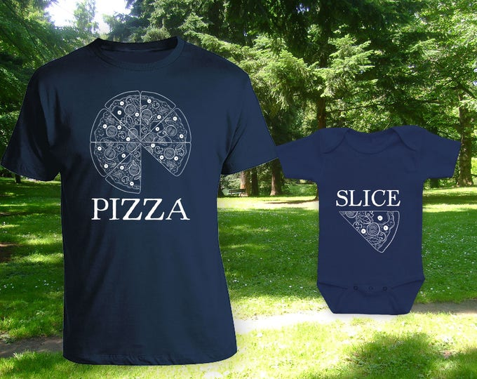 Featured listing image: Pizza Slice Matching t-shirts,Father son matching shirts,Gifts for Him,Gifts for Dad,father's day gift,birthday gift,bodysuit - CT-1303-1304