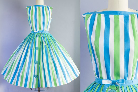 1950s Catalina Striped Skirt Set | Extra Small (34B/23-25W)