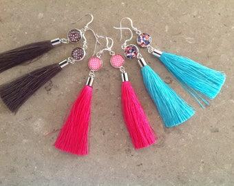 Tassel earrings, sterling silver hooks