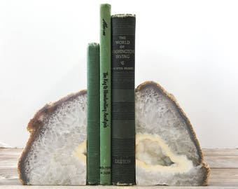 Agate Bookends Geode Bookends - Natural Stone Book Ends Gray and Brown