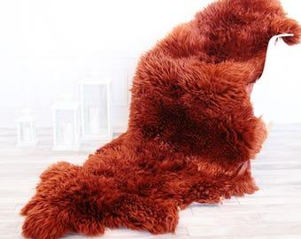 Double Sheepskin Rug | Long rug | Shaggy Rug | Chair Cover | Runner Rug | Copper Rug | Carpet | Copper Sheepskin