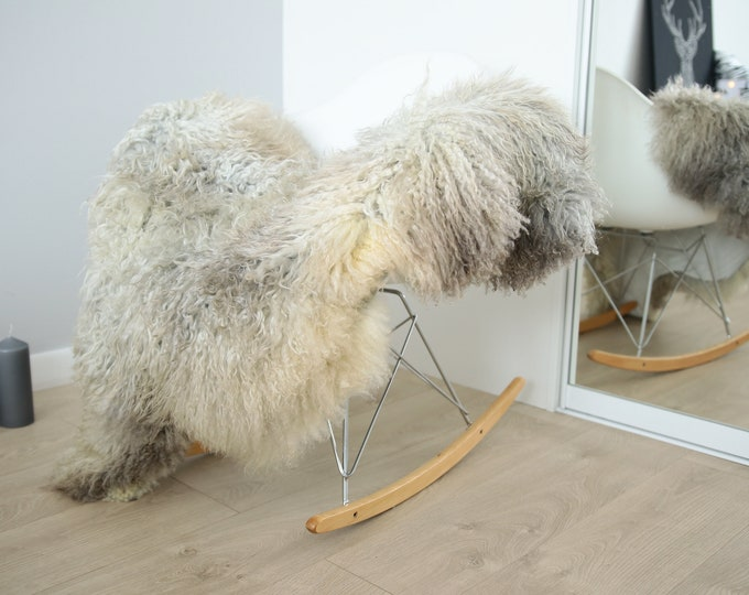 Genuine Rare Gotland Sheepskin Rug - Curly Fur Rug - Natural Sheepskin - Gray Ivory Sheepskin #FEBGOT31