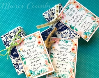 INSTANT DOWNLOAD Testimony Tissues Young Womens Printables Girls Camp Tags Marci Coombs LDS Beehives
