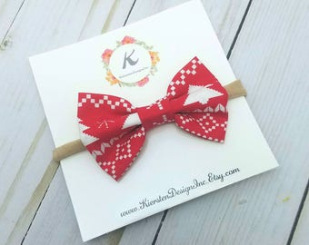 Christmas nylon headband - christmas bows - holiday bows - red christmas bow - christmas print bow - baby girl headbands - nylon headbands