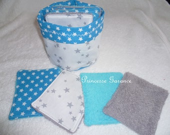 12 cotton wipes and sponge and small matching pouch - baby or MOM