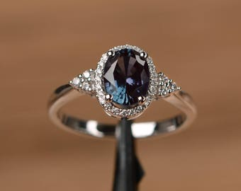 lab alexandrite ring romantic engagement ring oval cut sterling silver ring June birthstone color changing gemstone ring