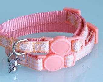 PEACH BLOSSOM GINGHAM - Small Peachy and White Cat or Dog Collar