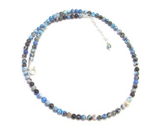 Necklace with natural stones and 925 Silver - Blue Agate