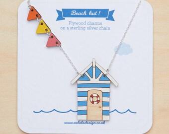 Beach hut Necklace, Beach hut jewellery, Nautical necklace, Bunting necklace, Seaside necklace, Gift for beach lover, Seaside lover, Beach