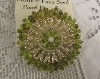 PERIDOT and FAUX SEED Brooch
