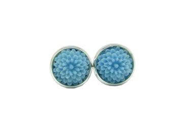 Statement Stud Earrings, Resin Cornflower Blue Mums Chic Earrings, Stud Earrings, Statement Earrings, Blue Silver Earrings, Fashion Jewelry,
