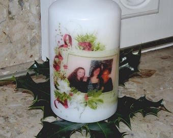 Personalised photo christmas candle